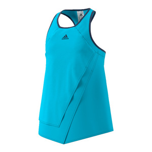 Girls` Melbourne Tennis Tank Samba Blue and Glow Orange