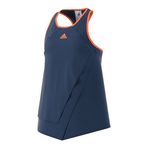 Girls` Melbourne Tennis Tank Mystery Blue and Glow Orange
