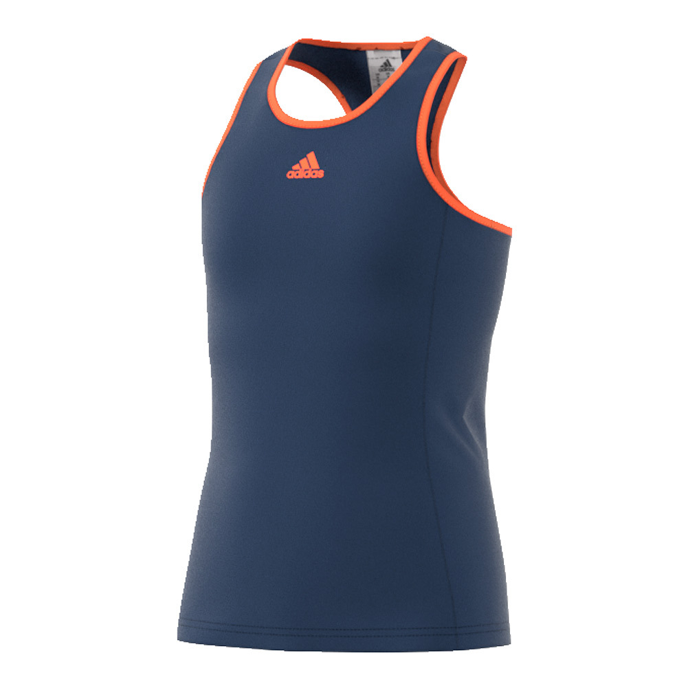 Girls ` Court Tennis Tank Mystery Blue And Glow Orange