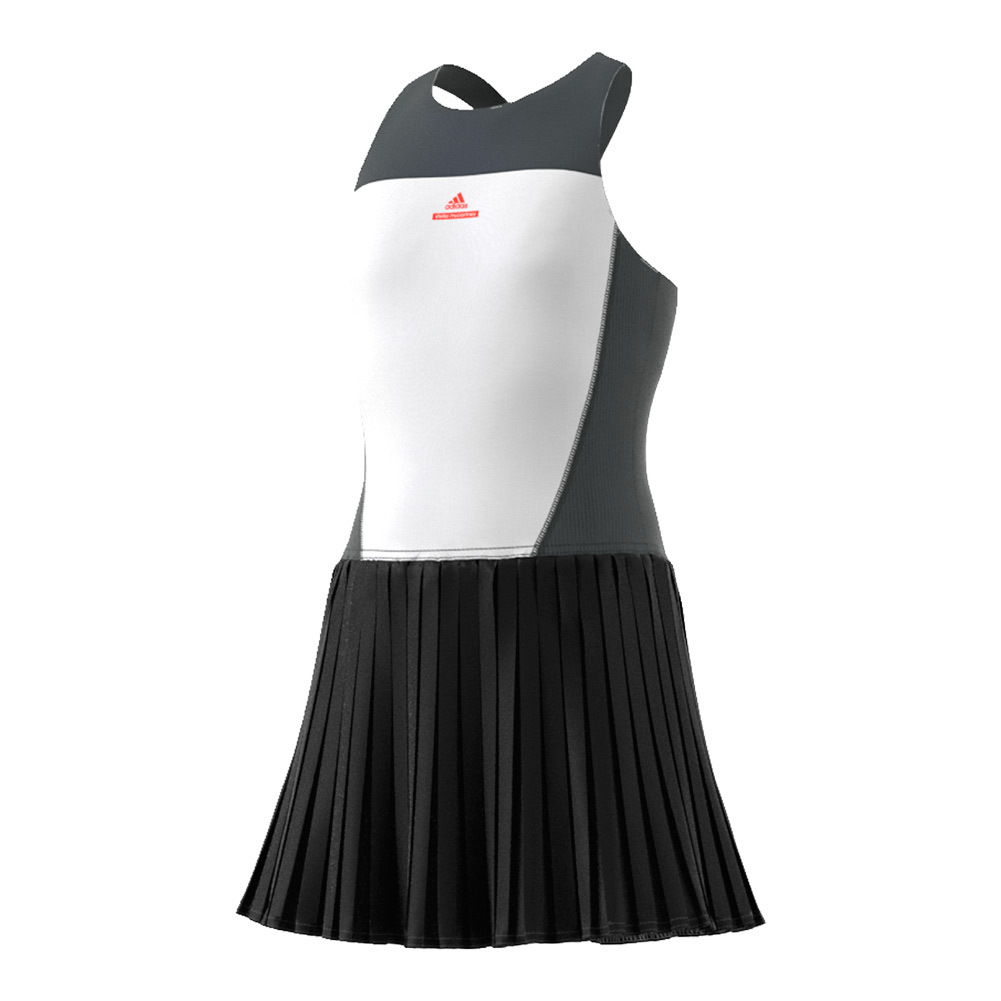 Girls'stella Mccartney Barricade Tennis Dress White And Solid Gray
