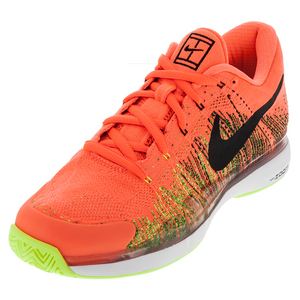 Men`s Zoom Vapor Flyknit Tennis Shoes Hyper Orange and Black