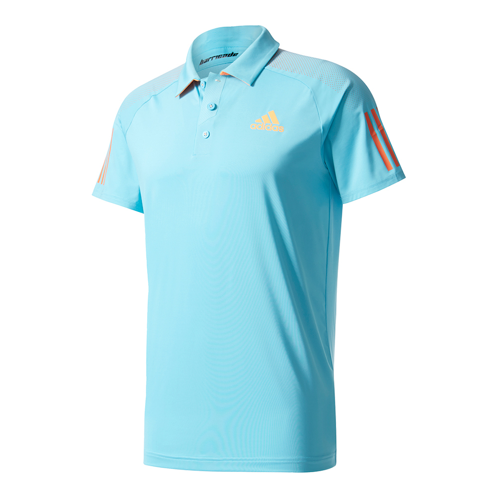 Men's Barricade Tennis Polo Samba Blue And Glow Orange