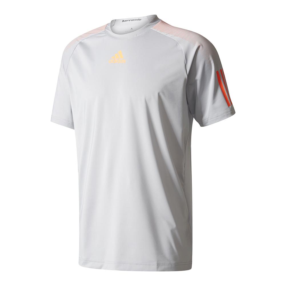 Men's Barricade Tennis Tee Clear Onix And Glow Orange
