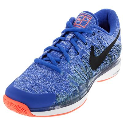 Men`s Zoom Vapor Flyknit Tennis Shoes Medium Blue and Black