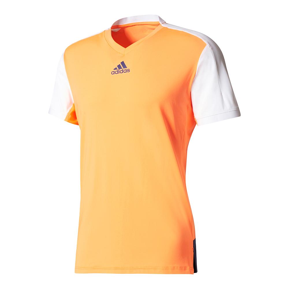 Men's Melbourne Tennis Tee Glow Orange And White