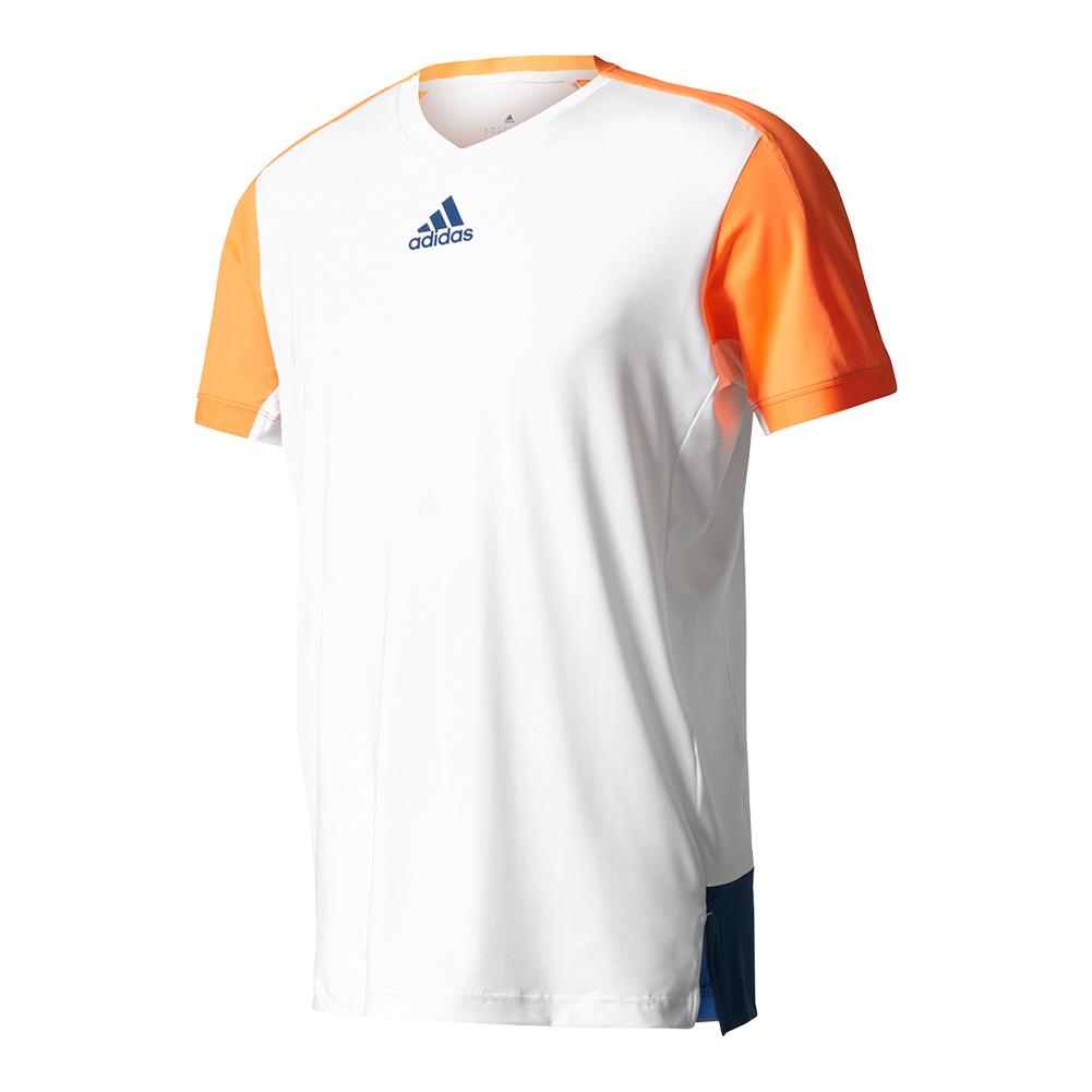 Men's Melbourne Tennis Tee White And Glow Orange