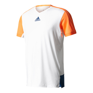 Men`s Melbourne Tennis Tee White and Glow Orange