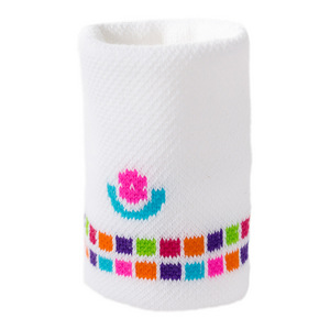 Women`s Medium Weight Tennis Wristband White and Multicolor