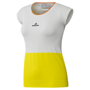 Women`s Stella McCartney Barricade Tennis Tee Bright Yellow and White
