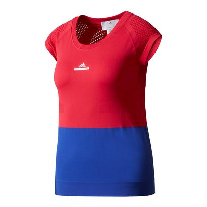 Women`s Stella McCartney Barricade Tennis Tee Bright Red and Bold Blue