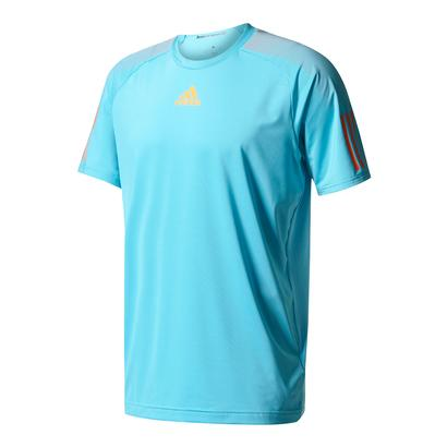 Men`s Barricade Tennis Tee Samba Blue and Glow Orange