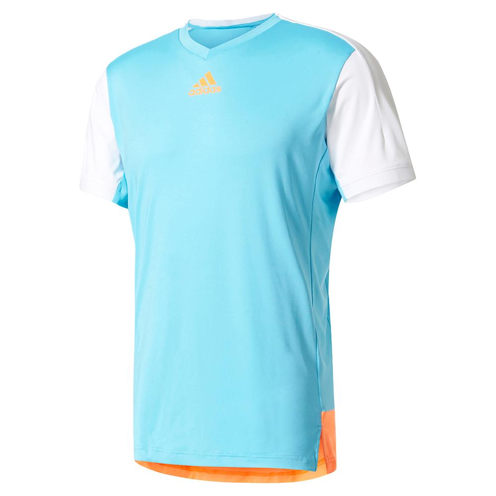 Men's Melbourne Tennis Tee Samba Blue And Glow Orange