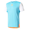 ADIDAS Men`s Melbourne Tennis Tee Samba Blue and Glow Orange