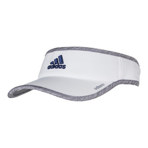 Men`s Adizero II Tennis Visor White and Light Gray Heather