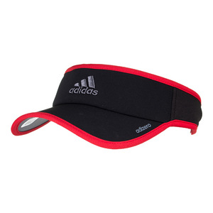 Men`s Adizero II Tennis Visor Black and Scarlet