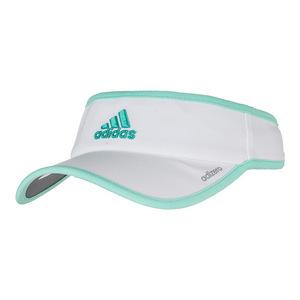 Women`s Adizero II Tennis Visor White and Easy Green
