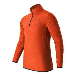 Men`s N Transit Quarter Zip Tennis Top Alpha Orange Heather