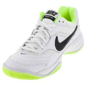 Men`s Court Lite Tennis Shoes White and Volt