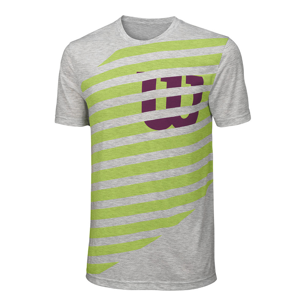 Men's Lined W Tech Tennis Tee Heather Gray And Green Glow