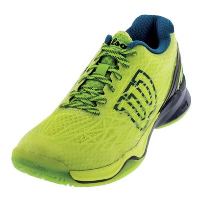Men`s Kaos Tennis Shoes Lime Punch and Navy Blazer