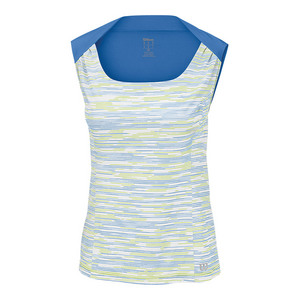 Women`s Star Striated Tennis Tank White and Regatta
