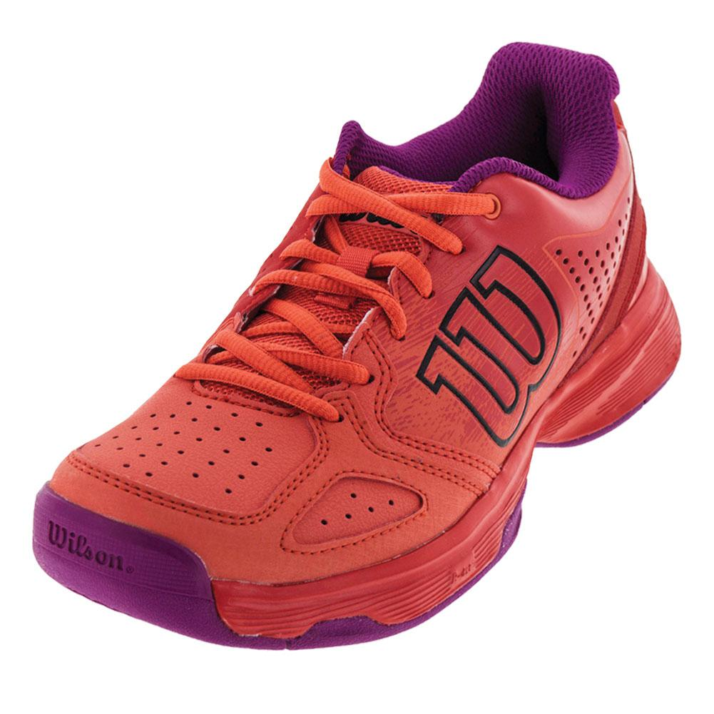 Juniors ` Kaos Comp Tennis Shoes Radiant Red And Coral Punch
