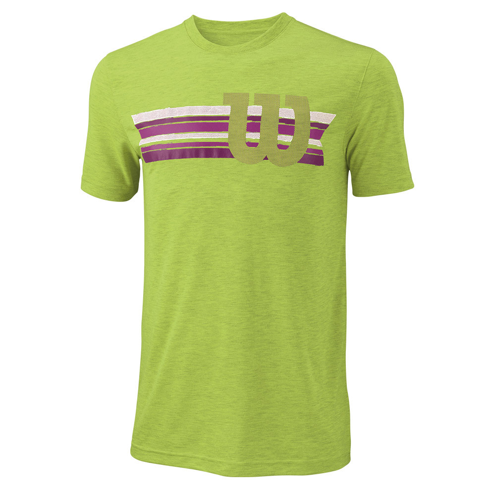 Men's Stripe W Tech Tennis Tee Green Glow Heather