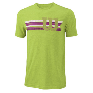 Men`s Stripe W Tech Tennis Tee Green Glow Heather