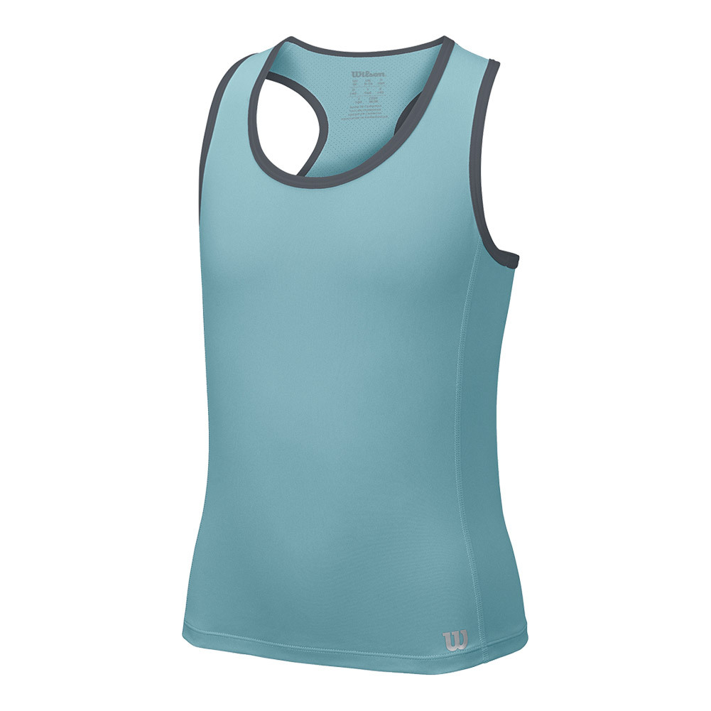 Girls ` Core Tennis Tank Aqua And Turbulence