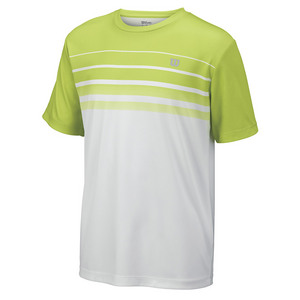 Boys` Spring Striped Tennis Crew Green Glow and White