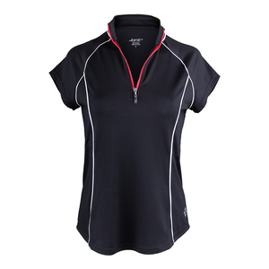 Women`s Short Sleeve Raglan Mock Tennis Top Black
