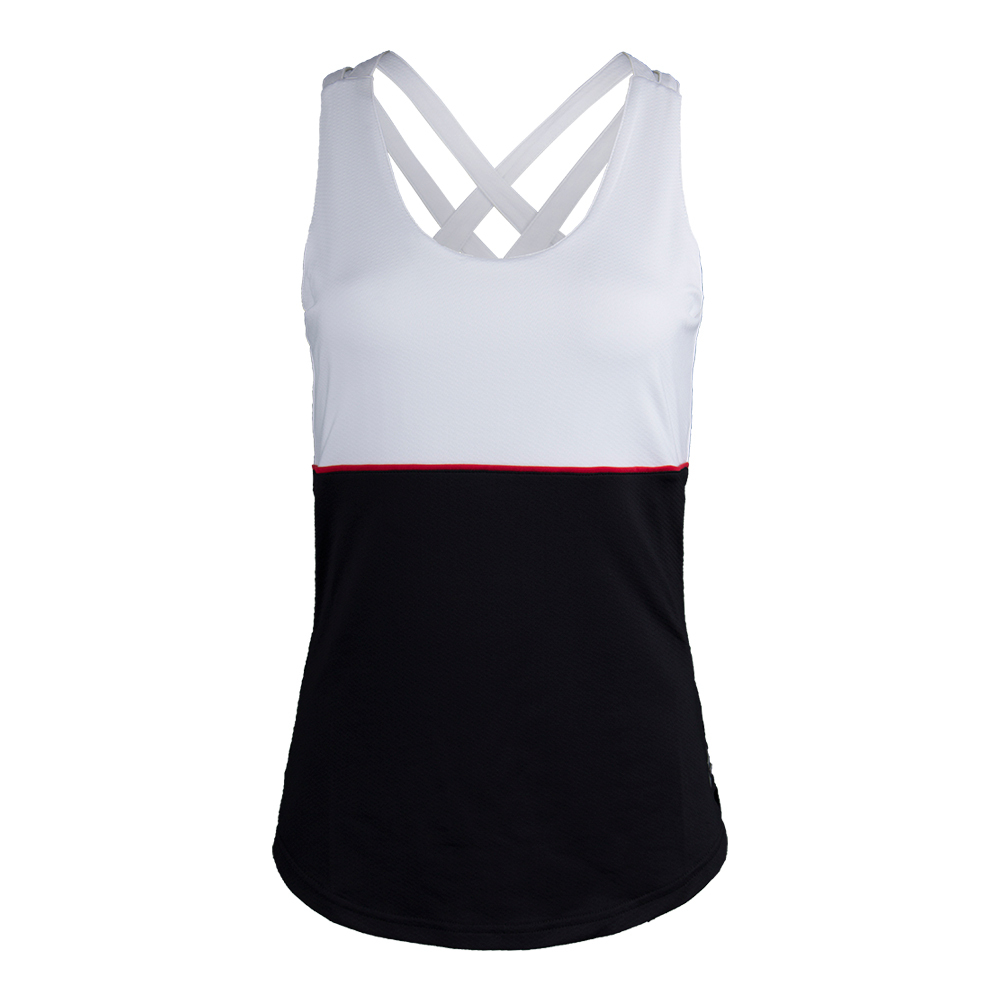 Women's Loop Back Tennis Tank Black And White