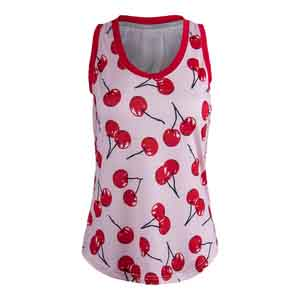 Women`s Volley Tennis Tank Cherry Print