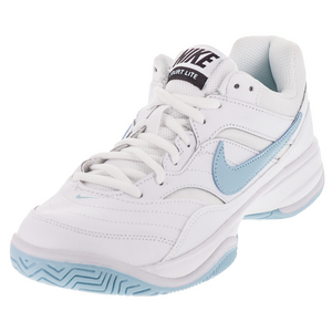 Women`s Court Lite Tennis Shoes White and Still Blue