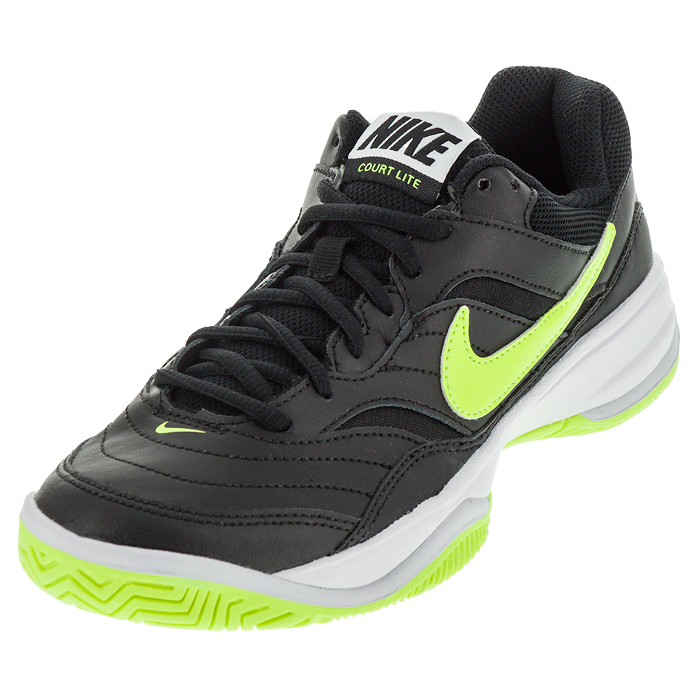 nike s court lite tennis shoes black and volt