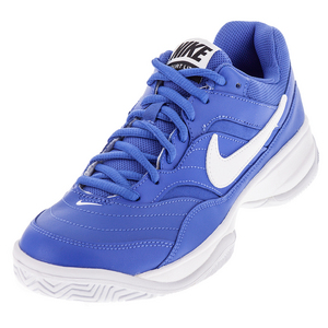 Men`s Court Lite Tennis Shoes Medium Blue and White