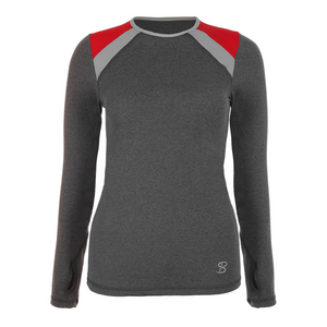 Women`s Classic Long Sleeve Tennis Top Steel and Red