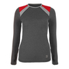SOFIBELLA Women`s Classic Long Sleeve Tennis Top Steel and Red