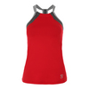 SOFIBELLA Women`s Athletic Halter Tennis Top Red and Gray
