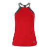 SOFIBELLA Women`s Athletic Halter Tennis Top Red and Gray