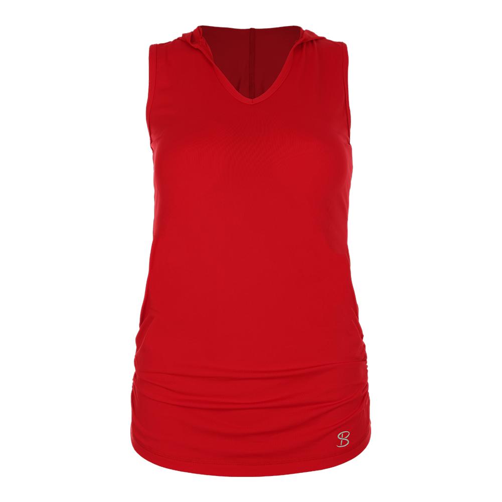 Women's Racerback Tennis Hoodie Tank Red