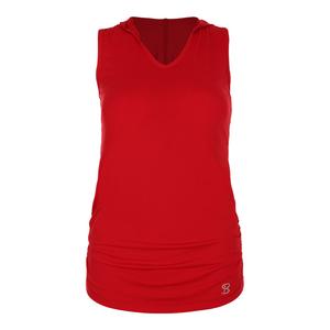 Women`s Racerback Tennis Hoodie Tank Red