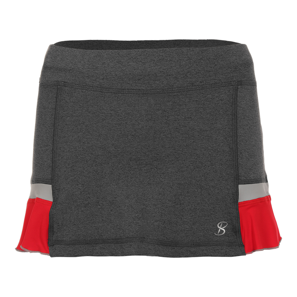 Women's 12 Inch Tennis Skort Steel And Red
