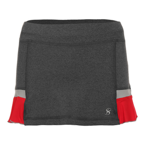 Women`s 12 Inch Tennis Skort Steel and Red