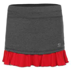 Women`s 14 Inch Tennis Skort Steel and Red