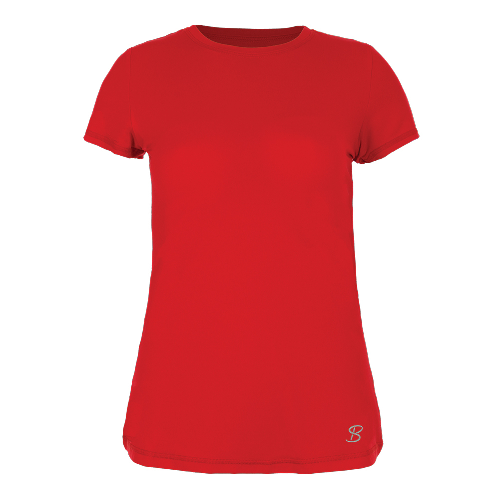 Women's Athletic Short Sleeve Tennis Top Red