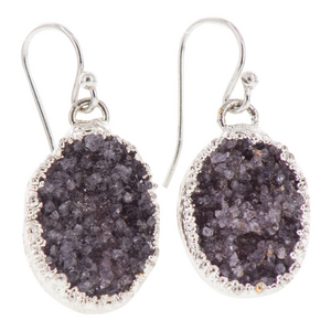 Silver Plated Oval Dark Plum Druzy Earrings