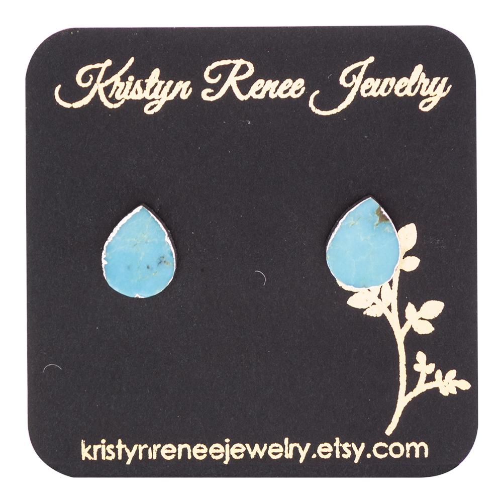 Silver Plated Turquoise Teardrop Stud Earings