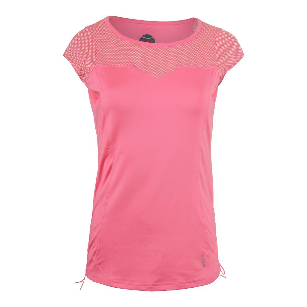 Women's Valentina Cap Sleeve Tennis Top Floral Pink