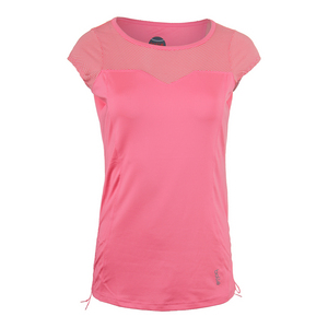 Women`s Valentina Cap Sleeve Tennis Top Floral Pink